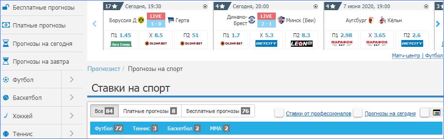 Интерфейс Prognozist.ru
