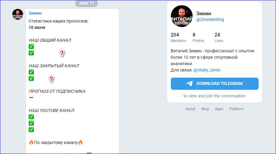Проходимость прогнозов Виталия Зимина