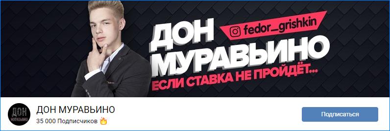Сообщество во ВКонтакте Дона Муравьино