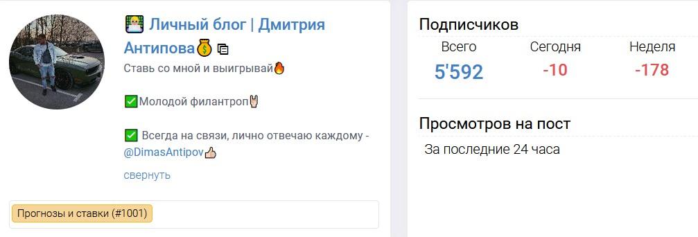 Телеграмм Дмитрия Антипова